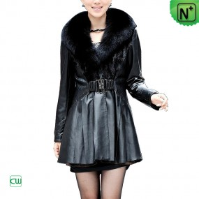 womens leather mink fur coat m.cwmalls.com