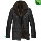 Black Shearling Coat Mens CW856125