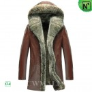 Hooded Shearling Coat with Fur Trim CW855303