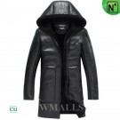 CWMALLS® Hooded Leather Shearling Coat CW838005