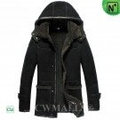 CWMALLS® Black Hooded Sheepskin Coat CW836018