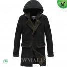 CWMALLS® Black Hooded Sheepskin Coat CW838009
