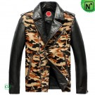 Mens Leather Camo Biker Jacket CW850337