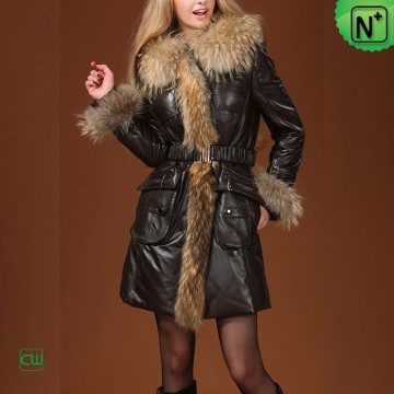 Women Fur Leather Coat m.cwmalls.com